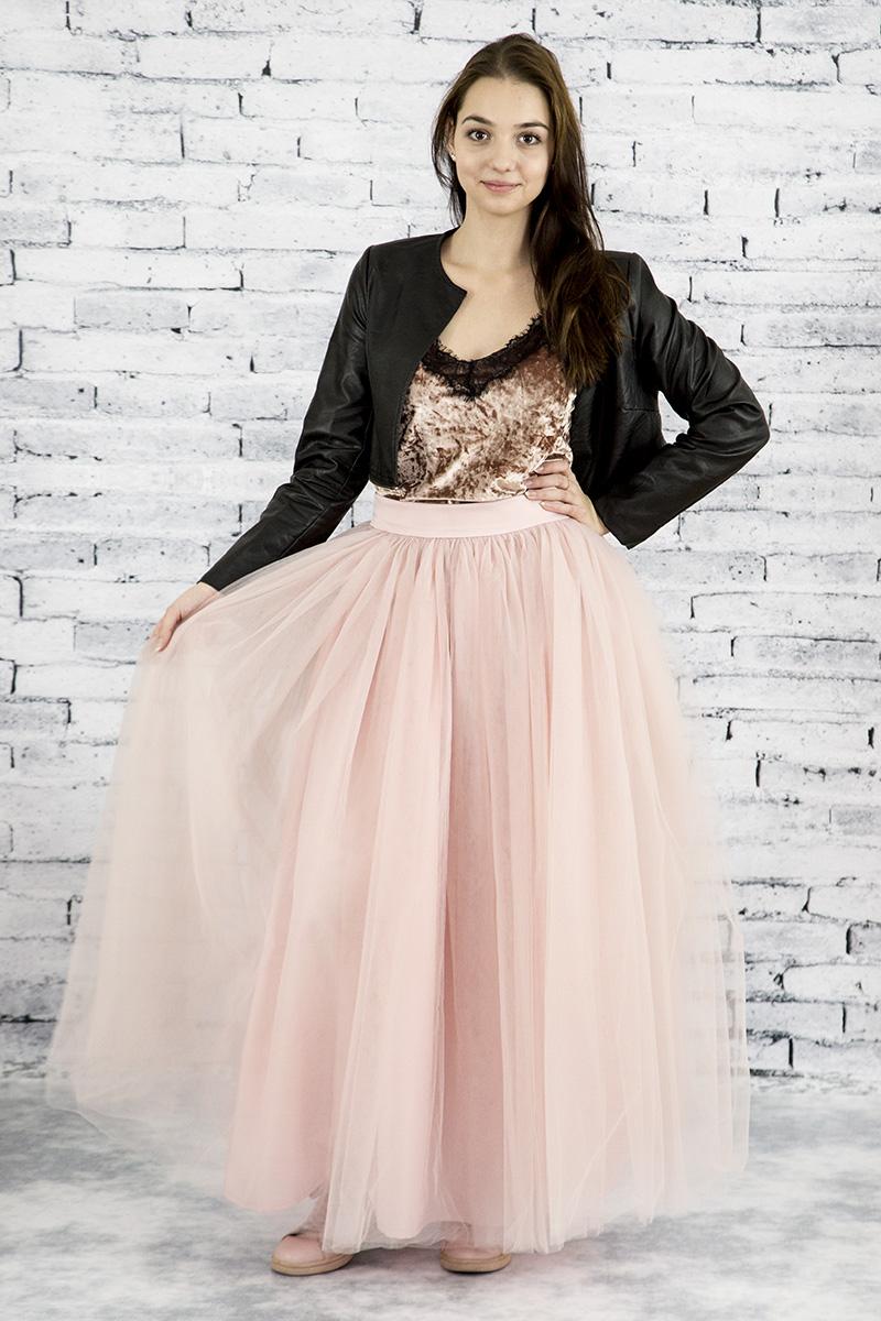 5ff2b70882ac Dlhá riasená tylová sukňa - Svetlo ružová - Peter a Lucia
