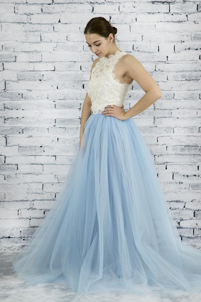 3baea7b25d2b Dlhá riasená tylová sukňa - Svetlo modrá - Peter a Lucia